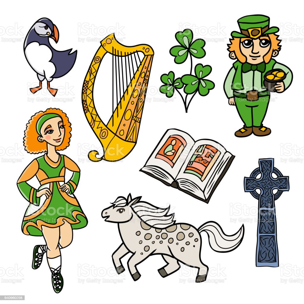 simbols and signs of Ireland vector art illustration