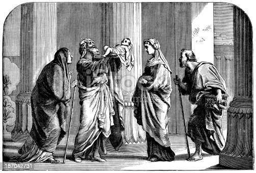 Engraving From 1873 Featuring Simeon And Anna In The Temple Recognizing Jesus As The Messiah.
