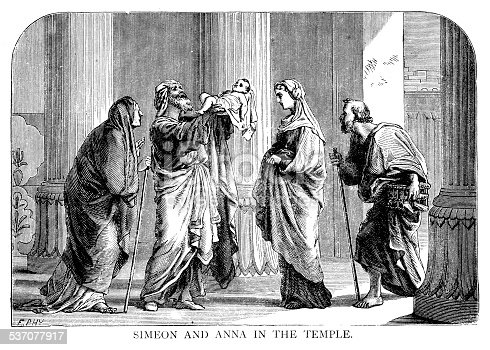 Simeon And Anna greeting Jesus, Mary and Joseph to the Jerusalem Temple