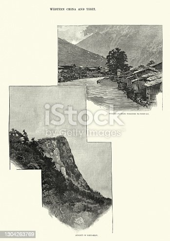 istock Simmit of Omei-shen, Strea, flowing through Ta-Tsien_Lu, Western China and Tibet 1304263769