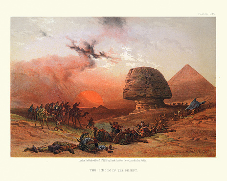 Vintage illustration of Simoom in the Desert, Great Sphinx and Pyramid, Egypt, Victorian 19th Century by David Roberts. Simoom is a strong, dry, dust-laden wind.