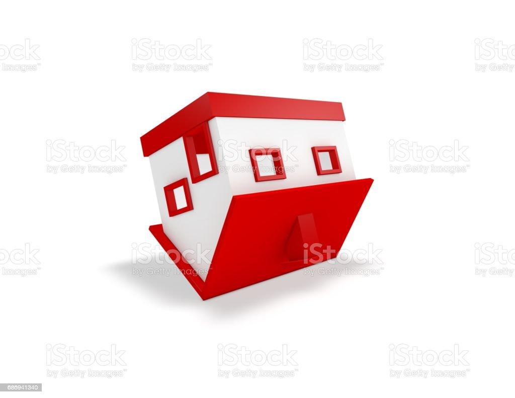 Simple 3D house upside down, housing problems idea. vector art illustration