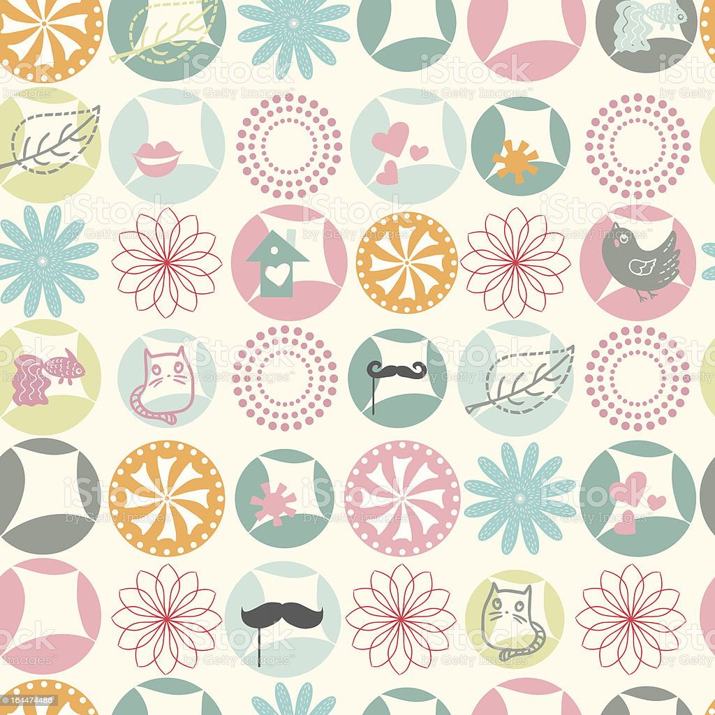 Simple and cute rounds motif pattern royalty-free stock vector art