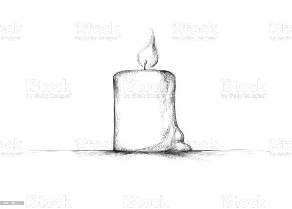 einfach brennende Kerze aus Wachs gemacht – Vektorgrafik
