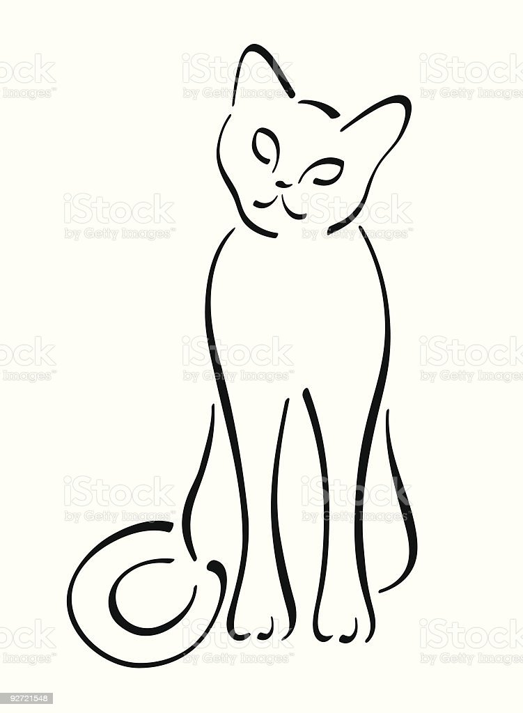 Simple Cat Lineart : Simple cat line art stock vector more images of