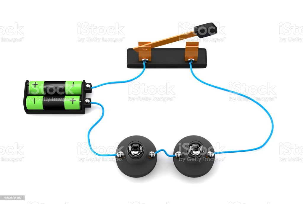 Simple electric circuit (series connection) on white background. royalty-free simple electric circuit on white background stock vector art & more images of battery
