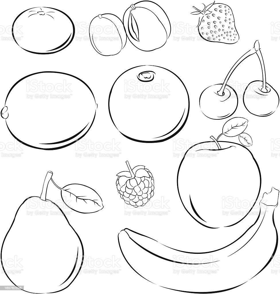 Simple Fruits Stock Vector Art 165762598