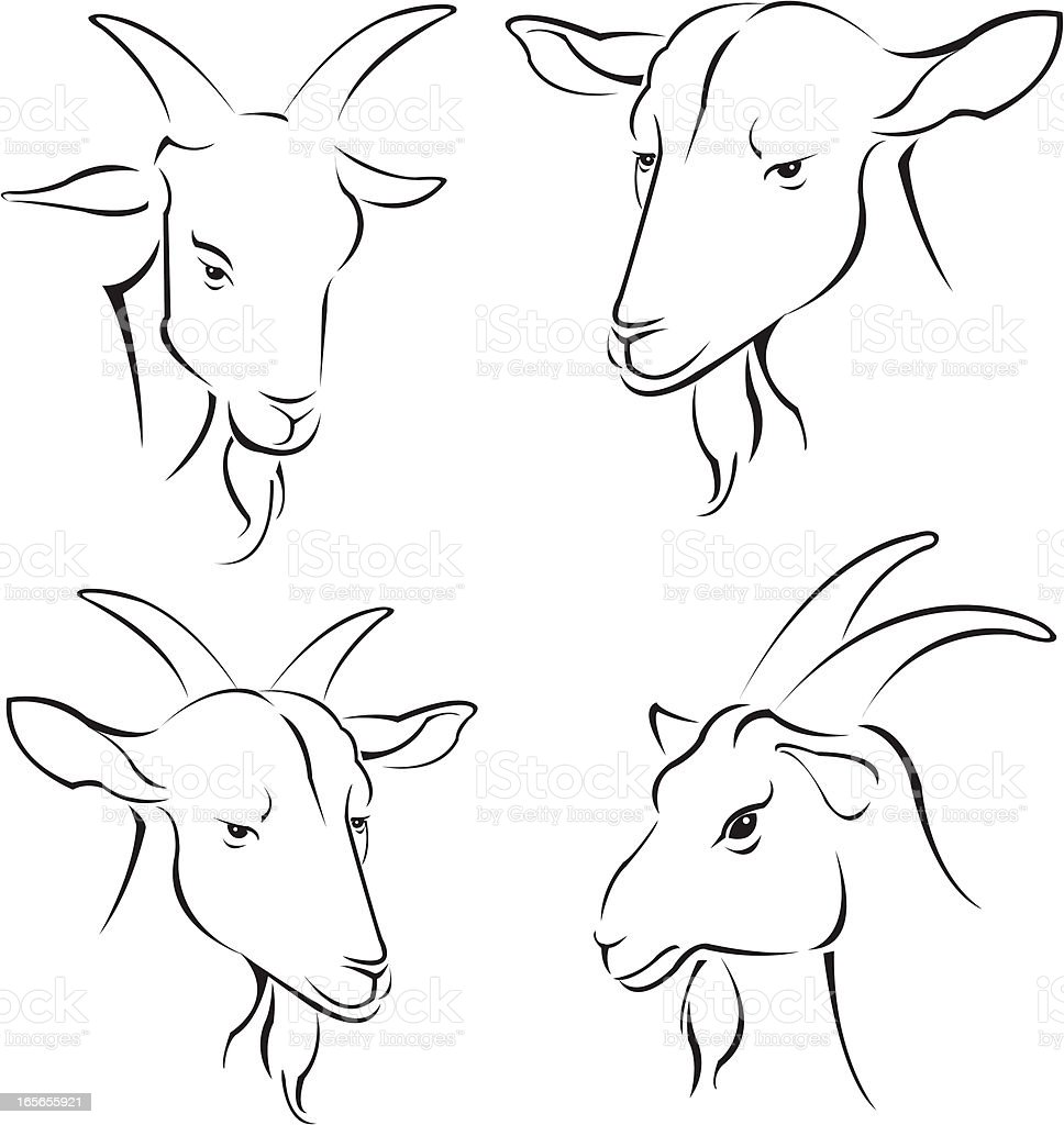 simple goats royalty-free stock vector art