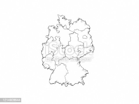 istock Simple Illustration of a Map of Germany 1214928544