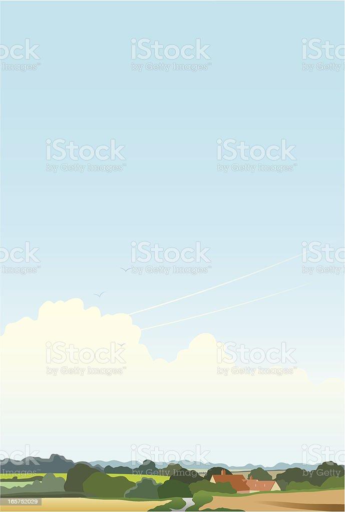 Simple landscape with farmhouse vector art illustration