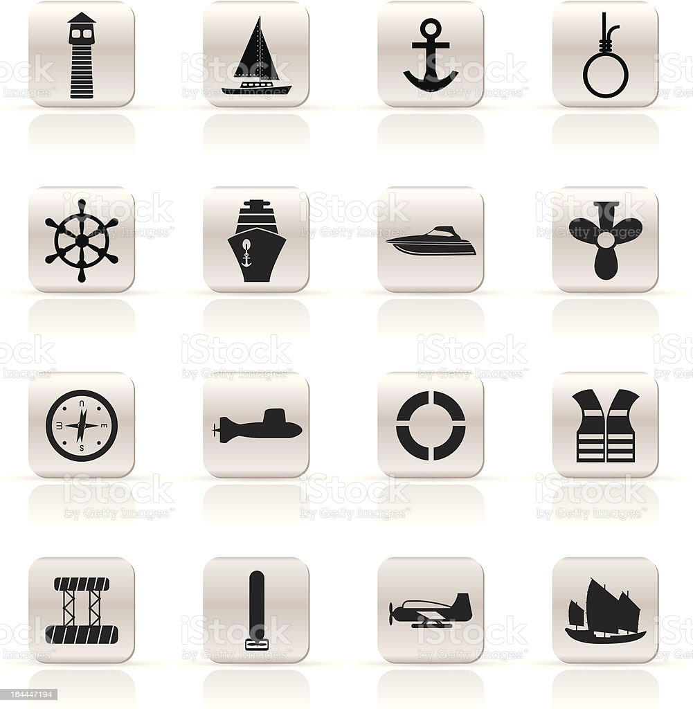 Simple Marine, Sailing and Sea Icons royalty-free stock vector art