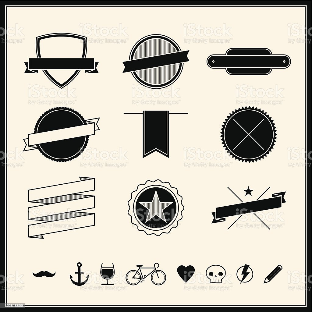 Simple Retro Design Elements vector art illustration