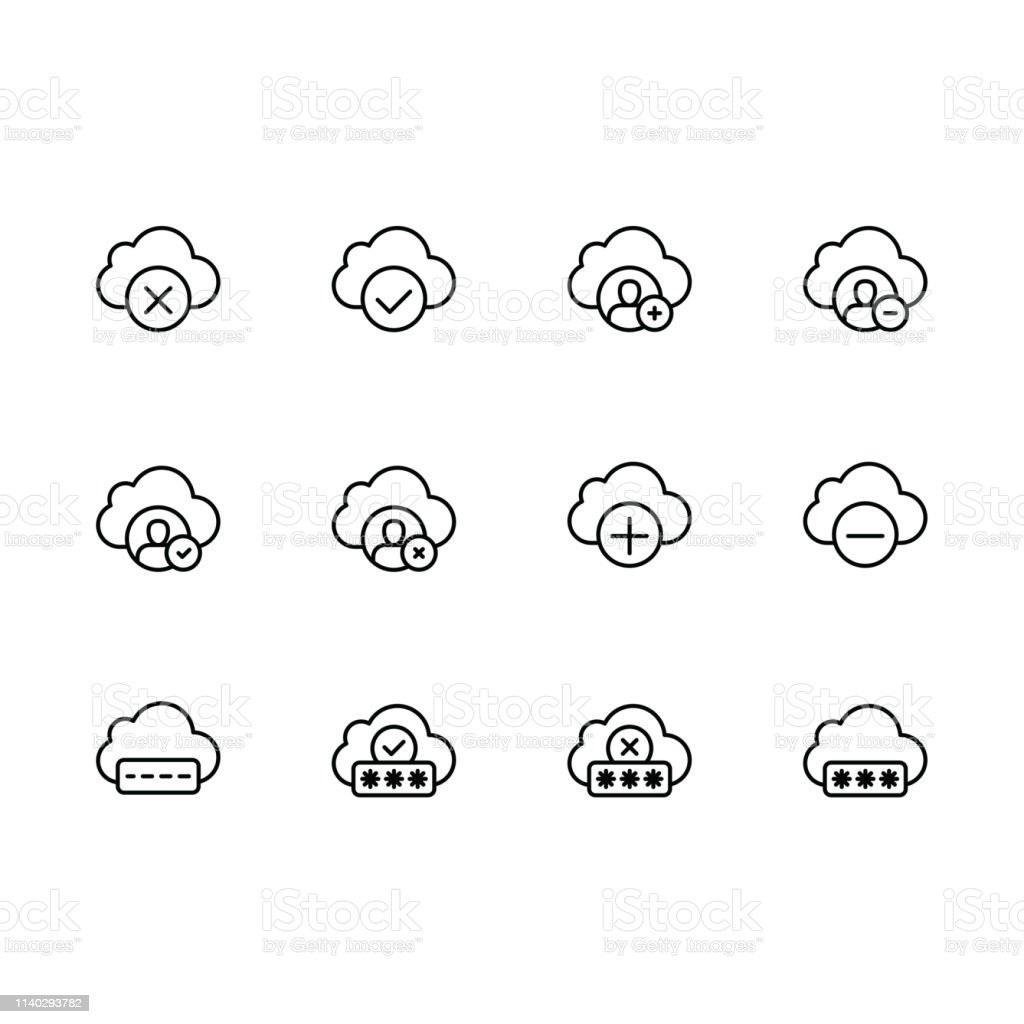 Simple set cloud storage illustration line icon. Contains such icons...