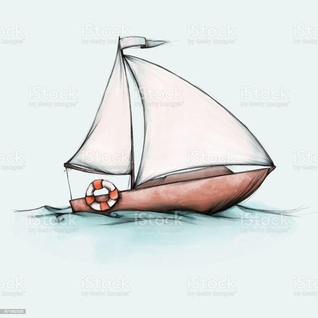 Simple small sailing boat – Vektorgrafik