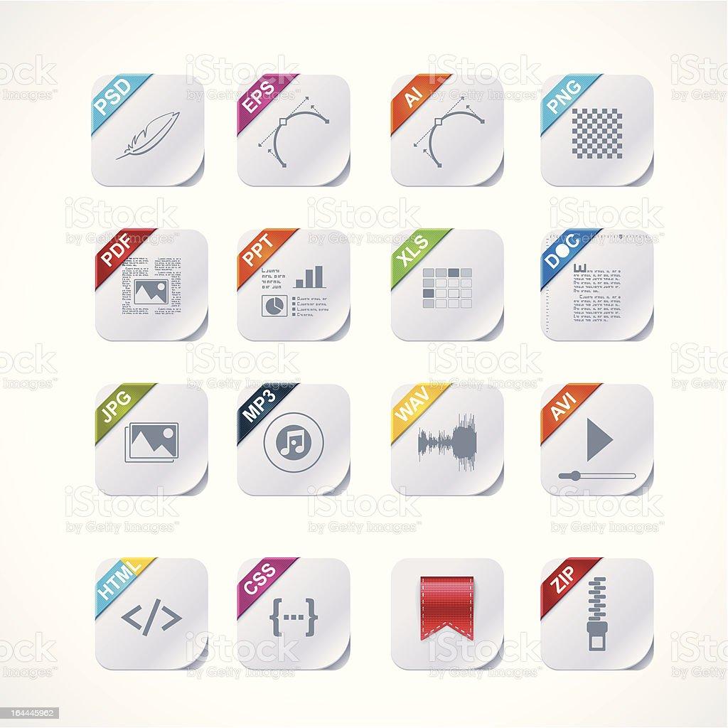 Simple square file labels icon set vector art illustration