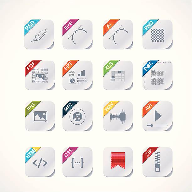 Simple square file labels icon setvectorkunst illustratie