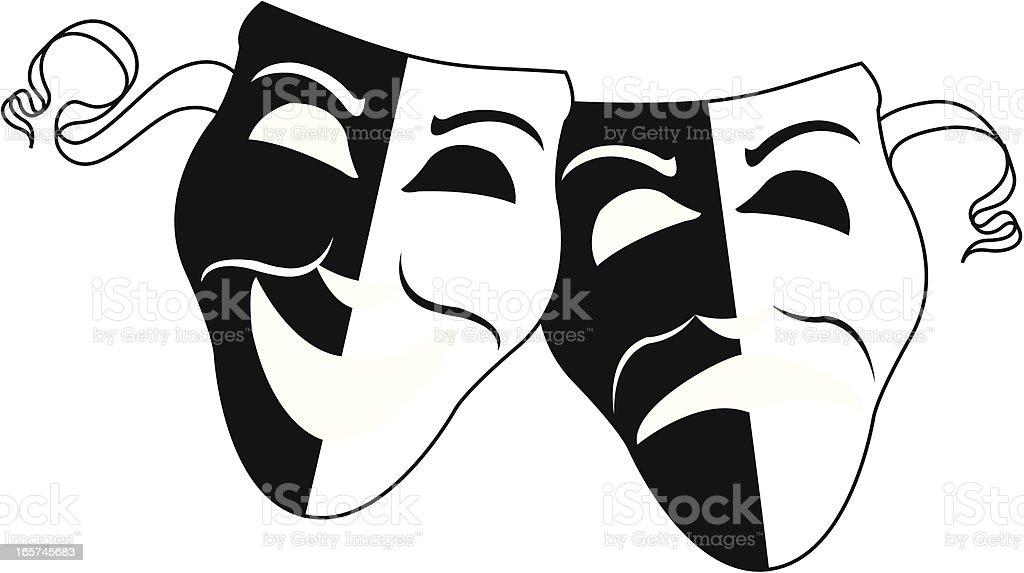 Simple Theater Masks vector art illustration