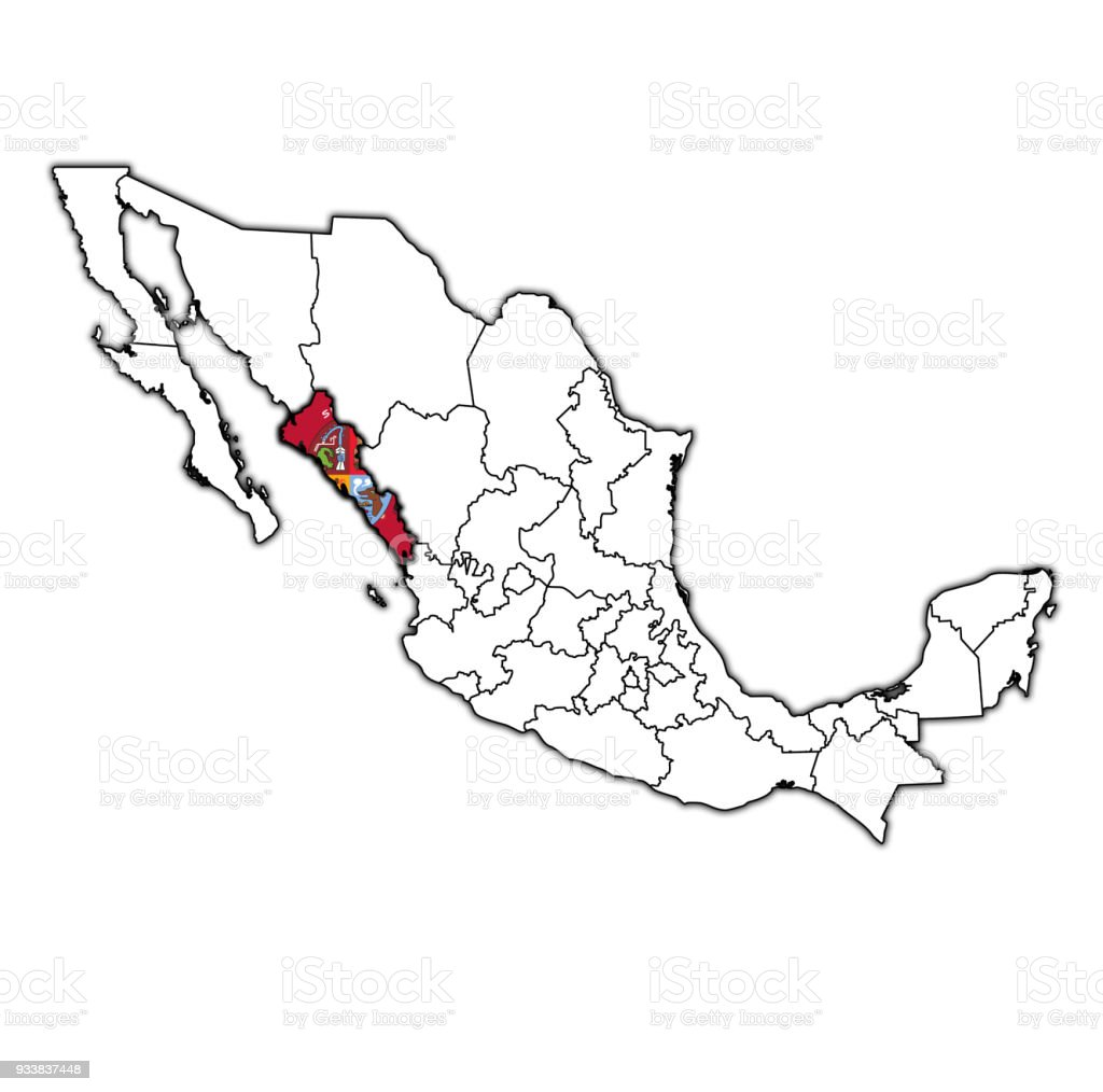 sinaloa state on map with administrative divisions and borders of mexico royalty free sinaloa state