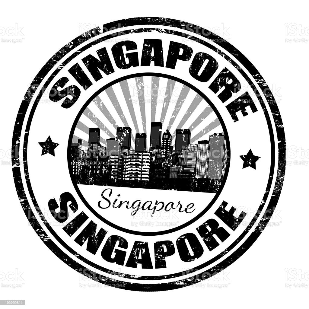 Singapore stamp royalty-free stock vector art