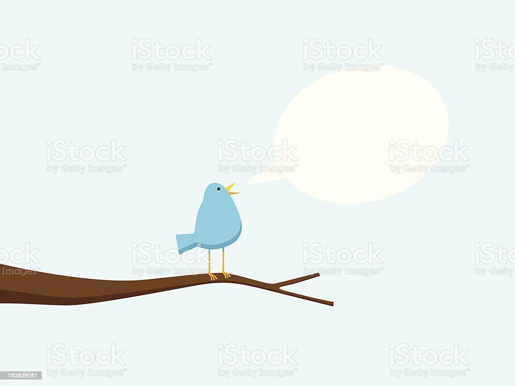 Singing Bird In Tree vector art illustration