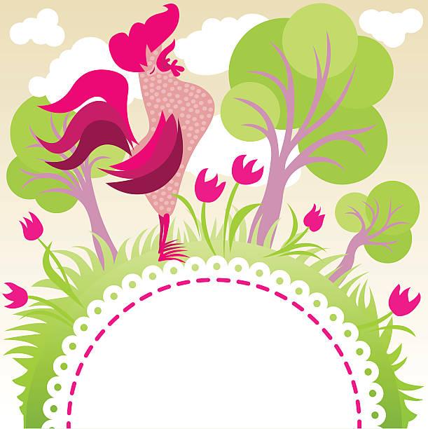 singing rooster in a garden vector art illustration