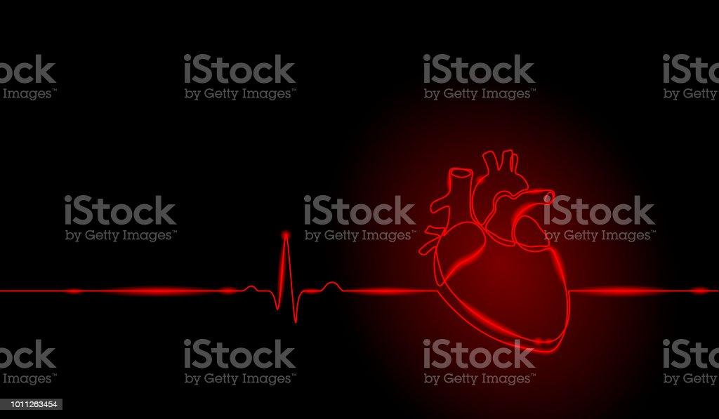 Ilustración de Silueta De Corazón Humano Anatomía Arte Sola Línea ...