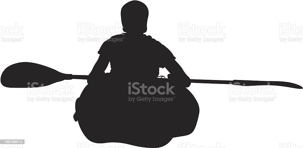Single person sitting in kayak royalty-free stock vector art