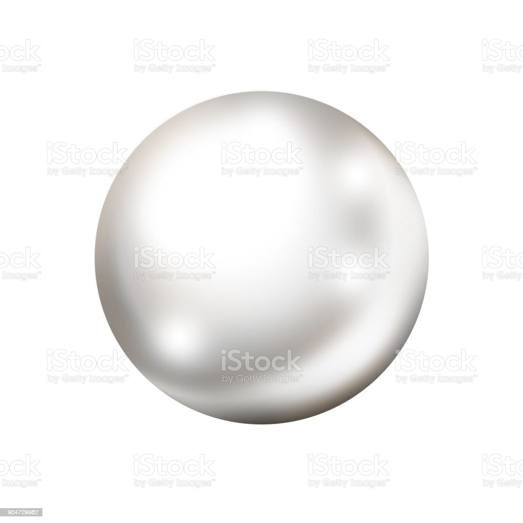 Single white pearl isolated on white background vector art illustration