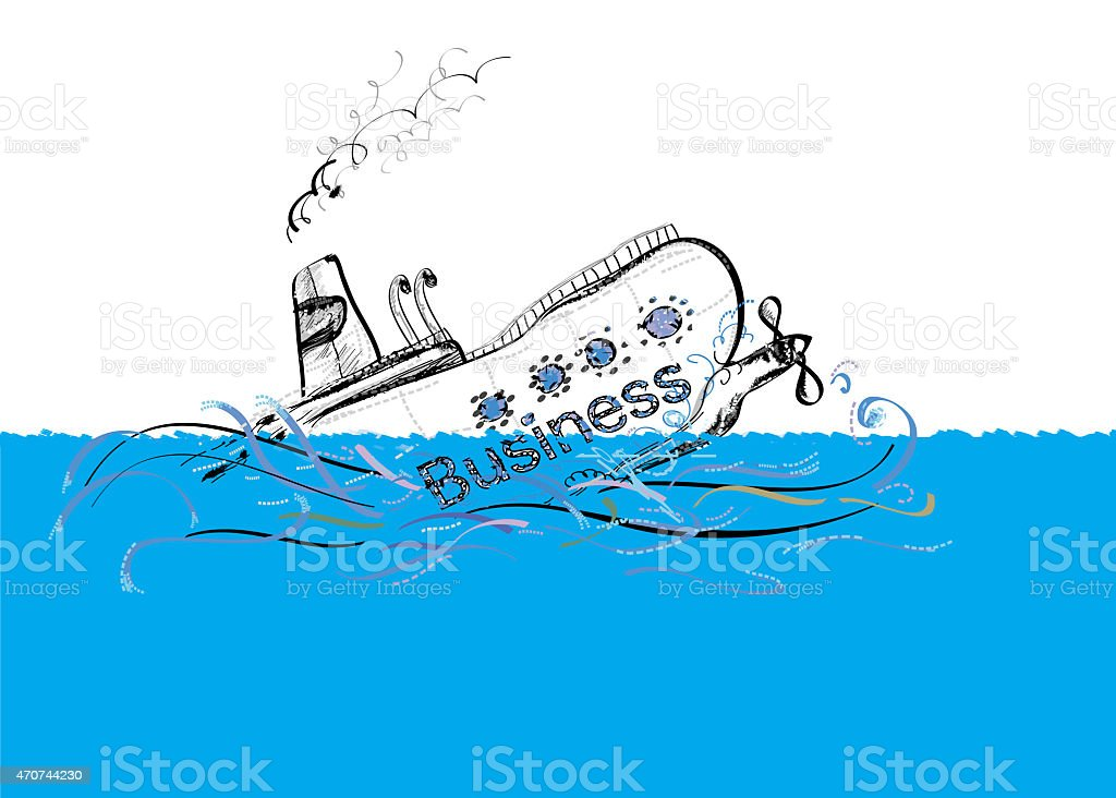 Sinking Ship vector art illustration