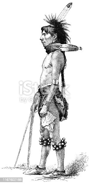 Portrait of a Sioux warrior of the North Dakota Sioux First Nation (circa late 19th century). Vintage etching circa late 19th century.
