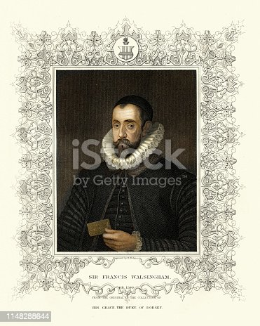 Vintage engraving of Sir Francis Walsingham  (c. 1532 – 6 April 1590) was principal secretary to Queen Elizabeth I of England from 20 December 1573 until his death and is popularly remembered as her spymaster.