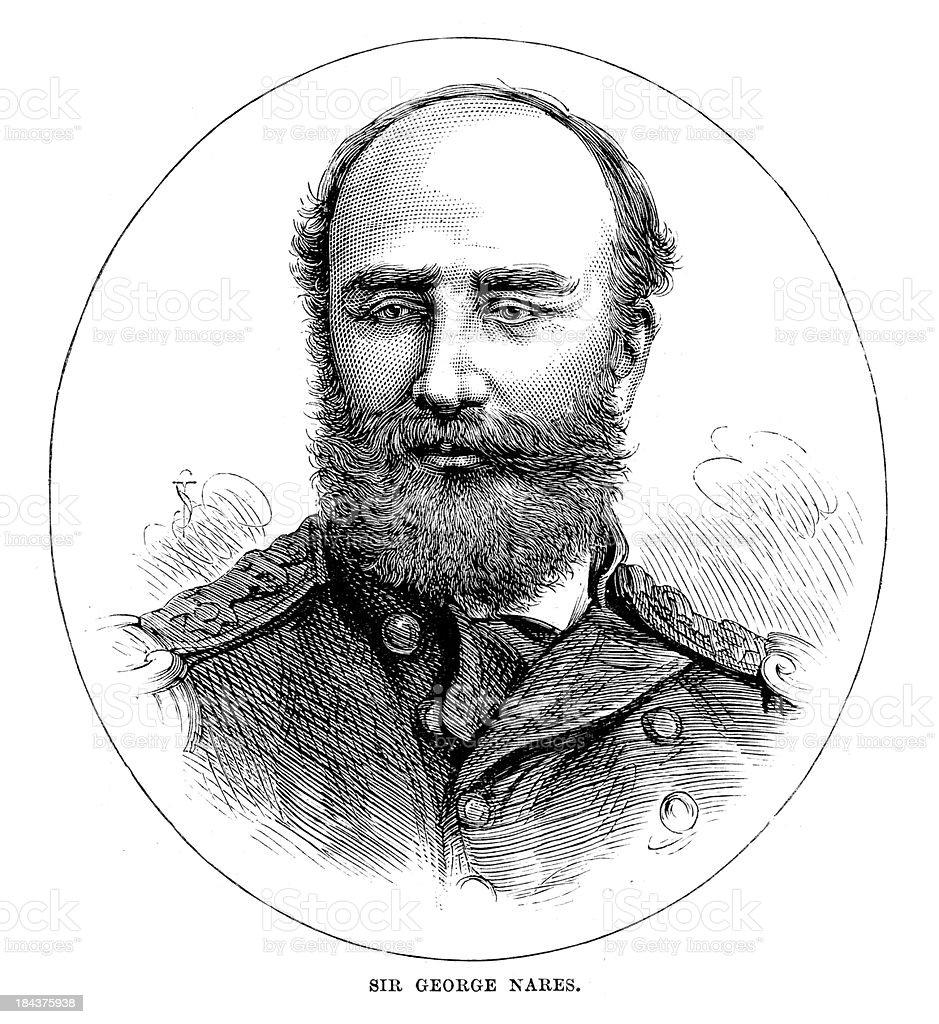 Sir George Nares vector art illustration
