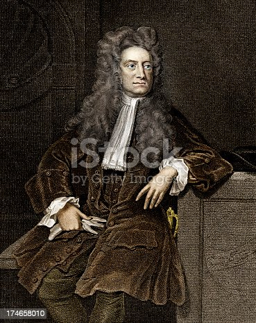 Vintage engraving of Sir Isaac Newton.  Engraving from 1856, photo and colour work by D Walker. He was an English physicist, mathematician, astronomer, natural philosopher, alchemist and theologian. His Philosophiæ Naturalis Principia Mathematica, published in 1687, is considered to be the most influential book in the history of science.