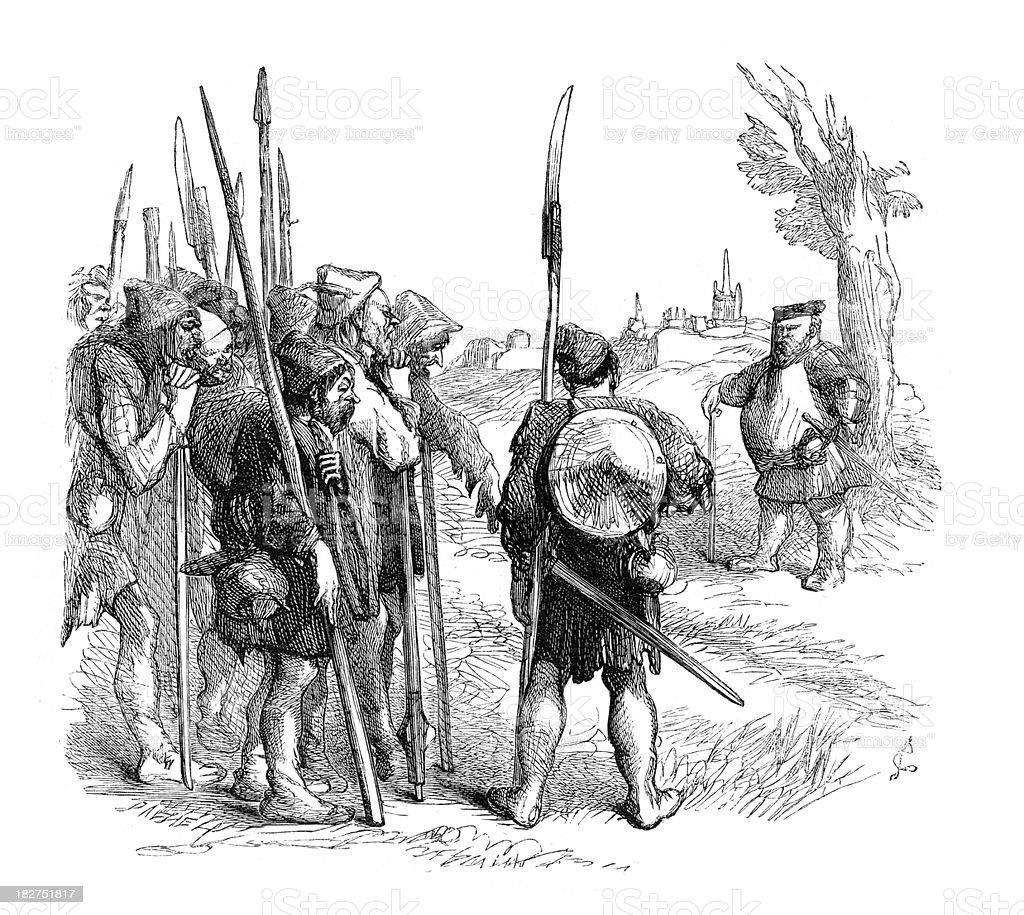 Sir John Falstaff and the Militia vector art illustration