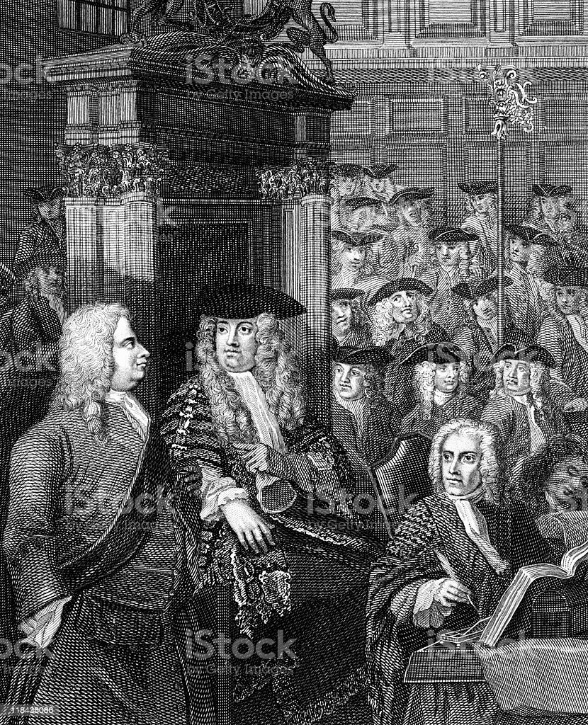 Sir Robert Walpole in the House of Commons, circa 1700s royalty-free stock vector art