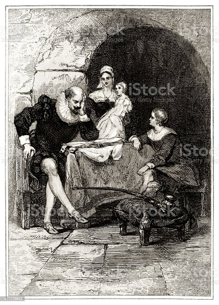 Sir Walter Raleigh imprisoned in the Tower of London royalty-free stock vector art
