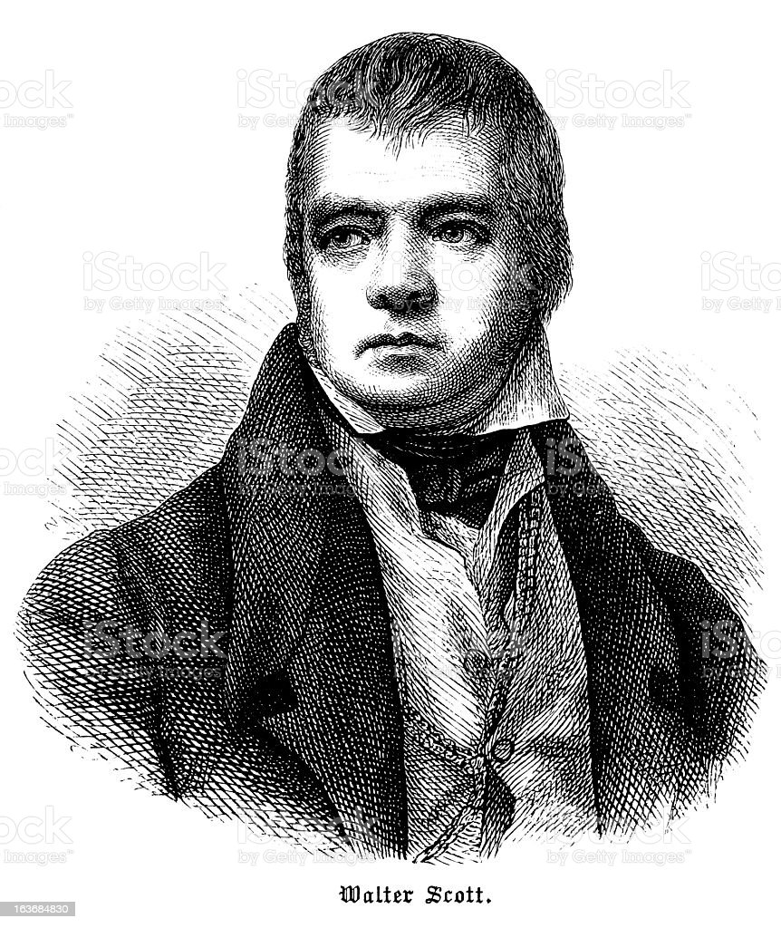 Sir Walter Scott - Antique Engraved Portrait royalty-free sir walter scott antique engraved portrait stock vector art & more images of 19th century