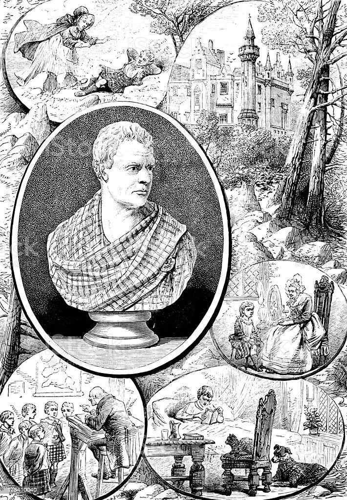 Sir Walter Scott - Victorian Illustration royalty-free sir walter scott victorian illustration stock vector art & more images of 1875