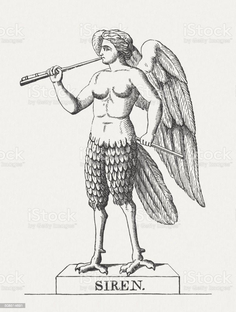 Siren Mythical Creatures Of Greek Mythology Wood Engraving Published ...