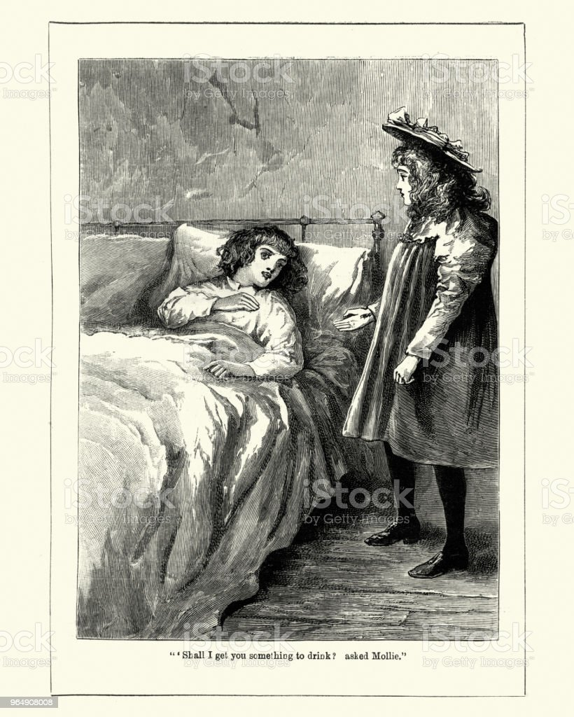 Sisiter helping her sick brother, Victoriian, 19th Century royalty-free sisiter helping her sick brother victoriian 19th century stock vector art & more images of 1890-1899