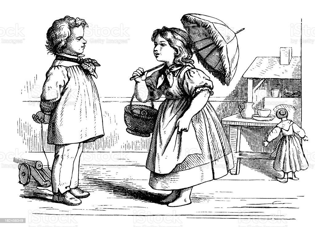 Irmã e irmão jogando ilustração de irmã e irmão jogando e mais banco de imagens de antigo royalty-free
