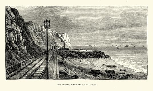 Сайте Евротоннель Попытка В 1881 — стоковая векторная графика и другие изображения на тему 1880-1889