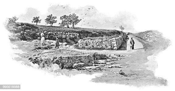 Believed location of the site where Saint Stephen was stoned to death in Jerusalem, Israel. Vintage halftone etching circa late 19th century.