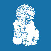 istock Sitting Chinese lion 1297236667