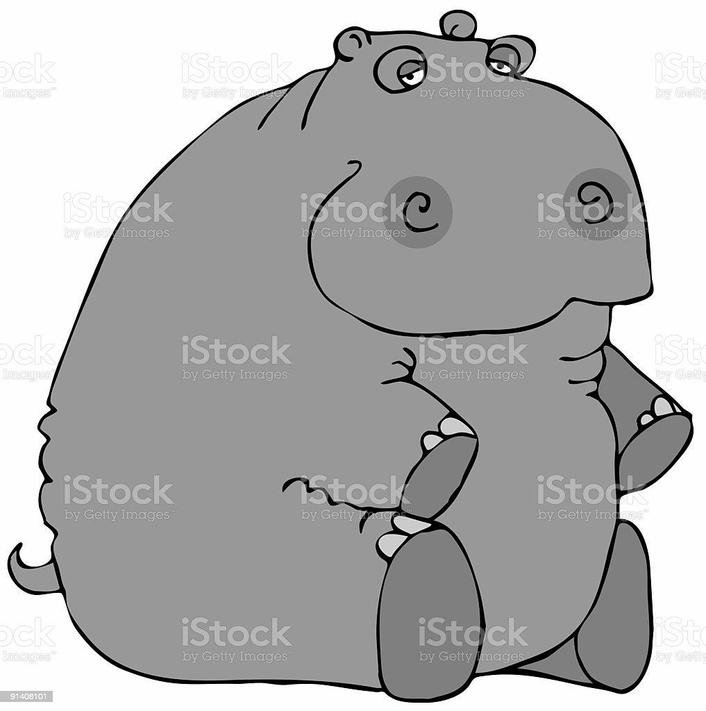 Sitting Hippo royalty-free stock vector art