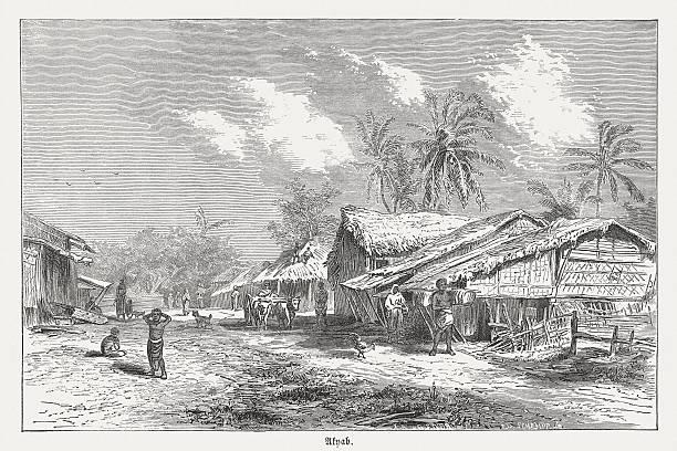 sittwe (wcześniej akyab), myanmar, drewno grawerowanie, opublikowana w 1873 - burma home do stock illustrations