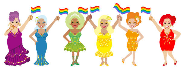 stockillustraties, clipart, cartoons en iconen met zes drag queens met regenboogvlaggen - lgbt parade concept art - drag queen