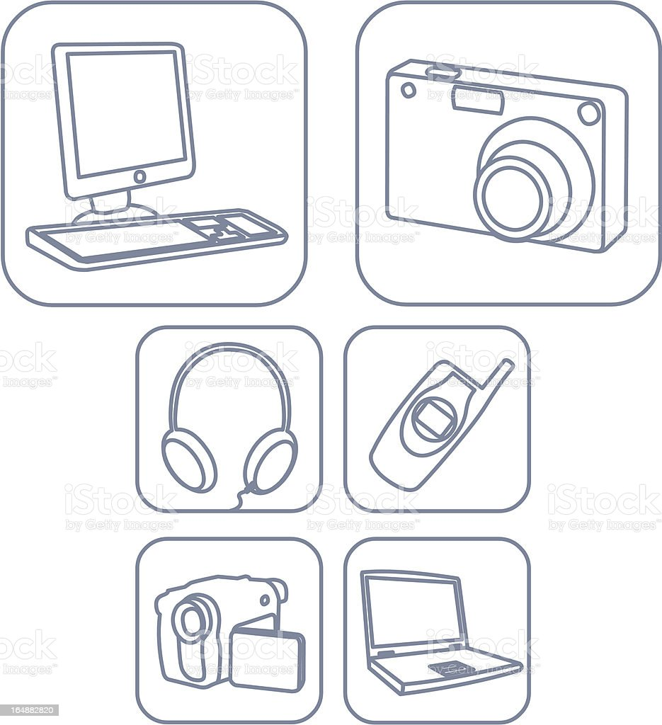 Six Electronic Goods Icons royalty-free stock vector art