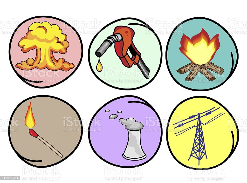 Six Forms of Energy on Round Background royalty-free stock vector art