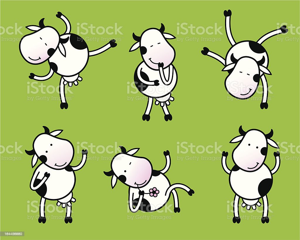 Six poses of dancing cow royalty-free stock vector art